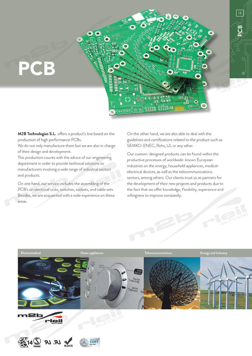 www.m2bswitches.com  PCB  13  PCB M2B Technologies S.L. offers a product   s line based on the production of high performa...