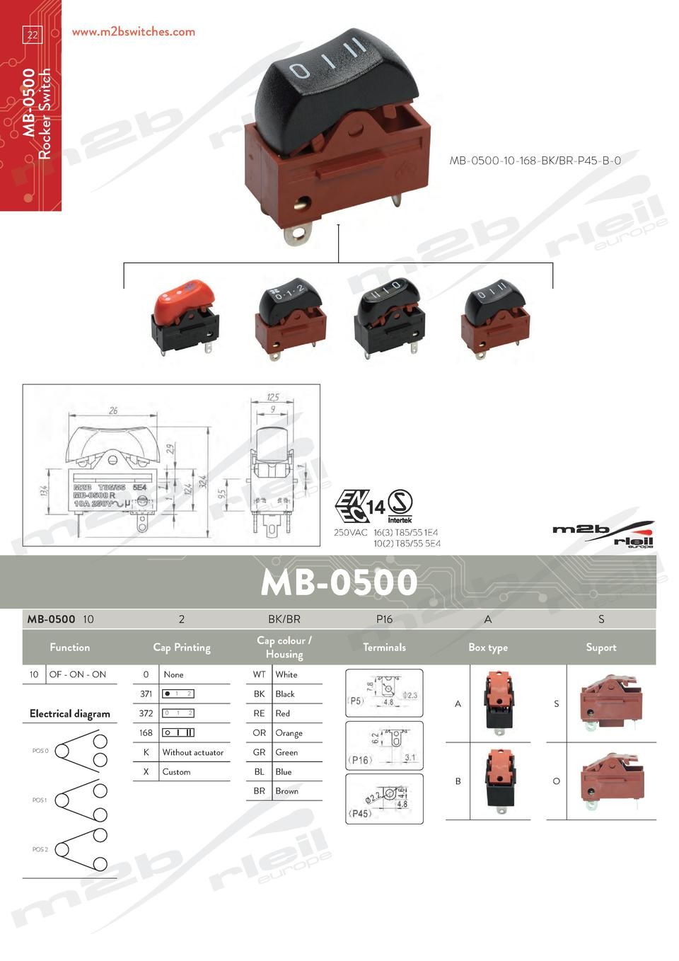 www.m2bswitches.com  MB-0500 Rocker Switch  22  MB-0500-10-168-BK BR-P45-B-0  250VAC  16 3  T85 55 1E4   10 2  T85 55 5E4 ...