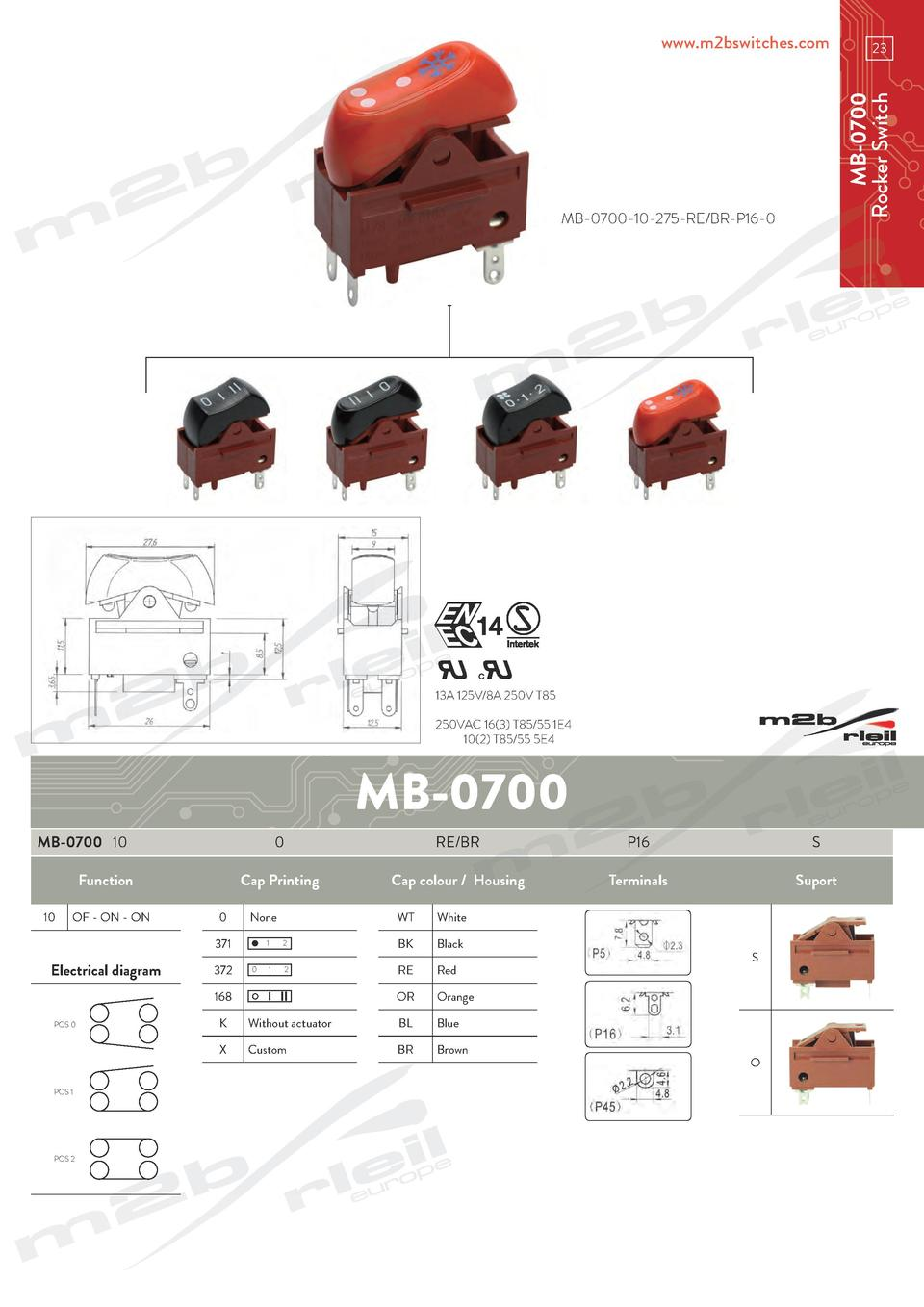 MB-0700-10-275-RE BR-P16-0  13A 125V 8A 250V T85 250VAC 16 3  T85 55 1E4   10 2  T85 55 5E4  MB-0700 MB-0700 10 Function 1...