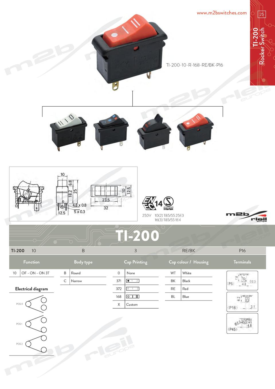 www.m2bswitches.com  TI-200 Rocker Switch  25  TI-200-10-R-168-RE BK-P16  250V   10 2  T85 55 25E3   16 3  T85 55 1E4  TI-...