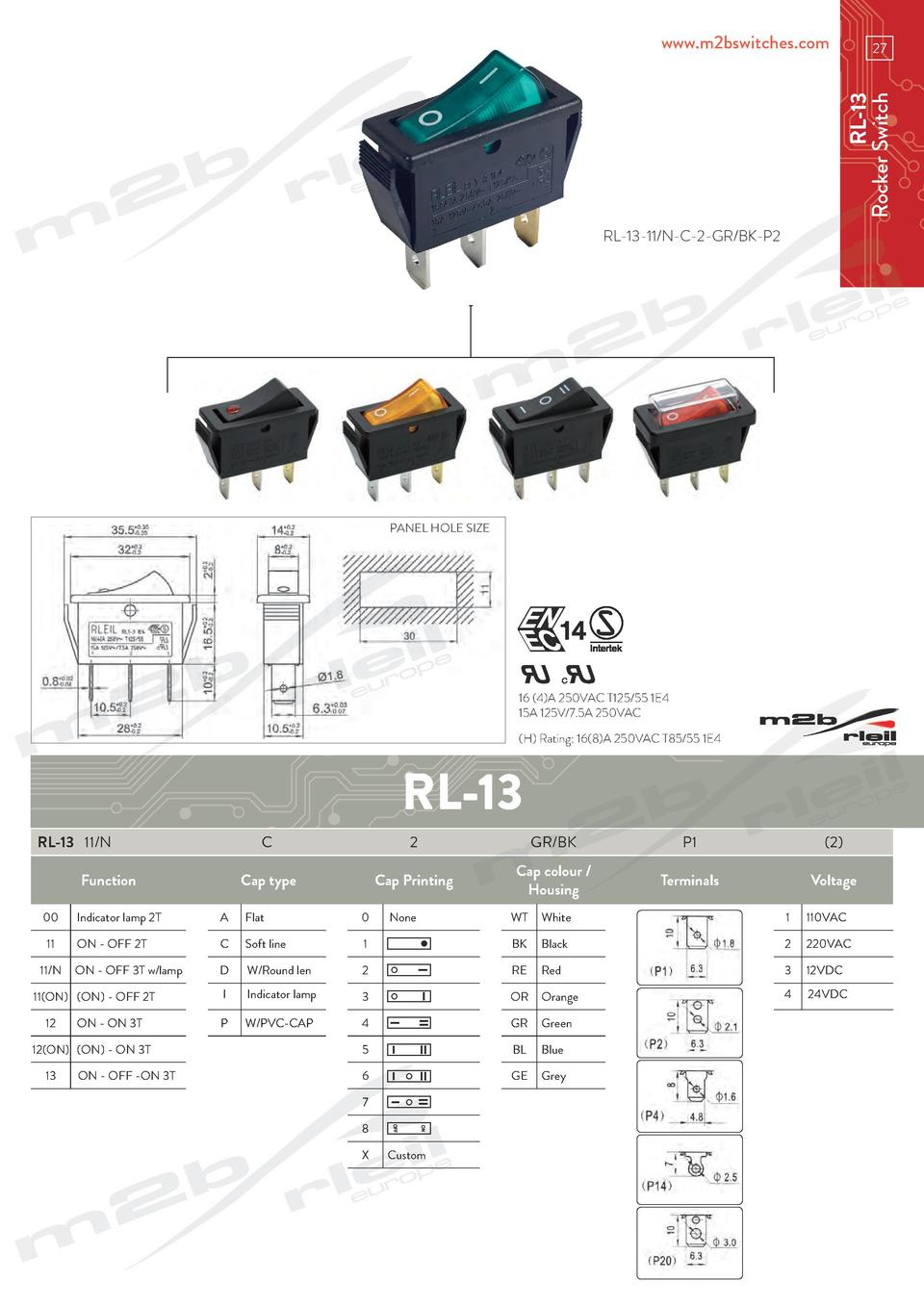 www.m2bswitches.com  RL-13 Rocker Switch  27  RL-13-11 N-C-2-GR BK-P2  PANEL HOLE SIZE  16  4 A 250VAC T125 55 1E4 15A 125...
