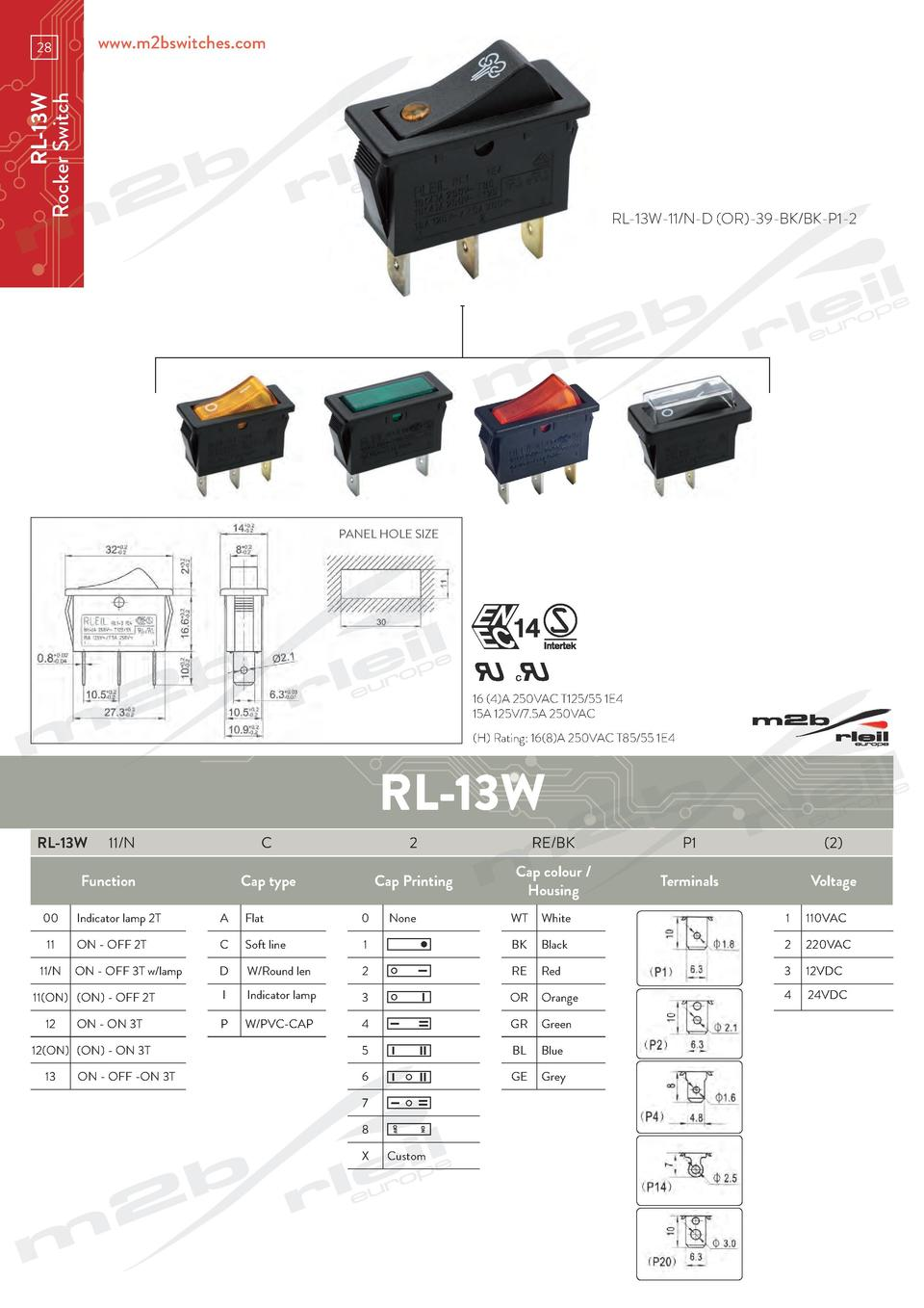 www.m2bswitches.com  RL-13W Rocker Switch  28  RL-13W-11 N-D  OR -39-BK BK-P1-2  PANEL HOLE SIZE  16  4 A 250VAC T125 55 1...