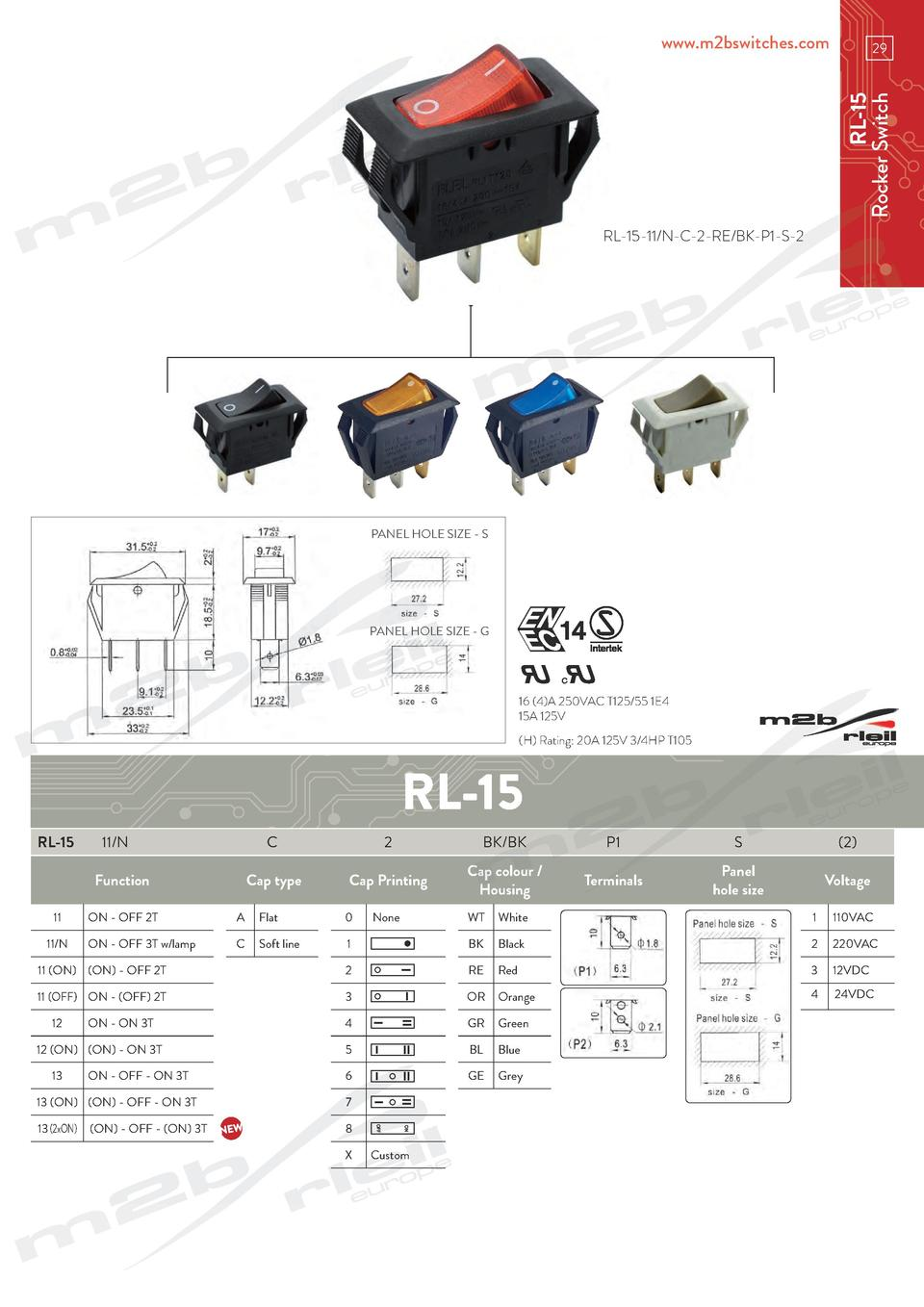 www.m2bswitches.com  RL-15 Rocker Switch  29  RL-15-11 N-C-2-RE BK-P1-S-2  PANEL HOLE SIZE - S  PANEL HOLE SIZE - G  16  4...