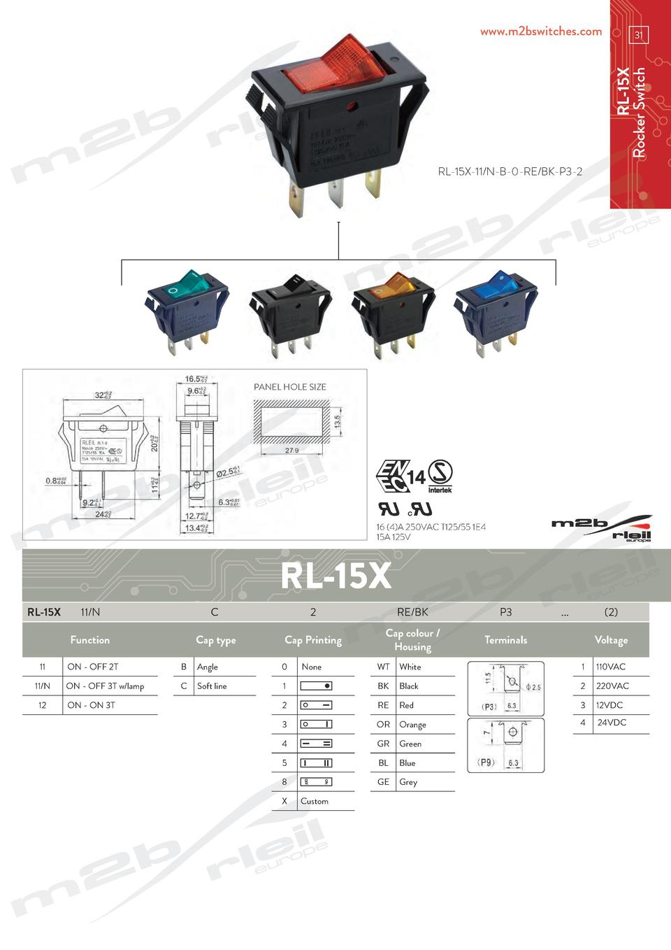 www.m2bswitches.com  RL-15X Rocker Switch  31  RL-15X-11 N-B-0-RE BK-P3-2  PANEL HOLE SIZE  16  4 A 250VAC T125 55 1E4 15A...