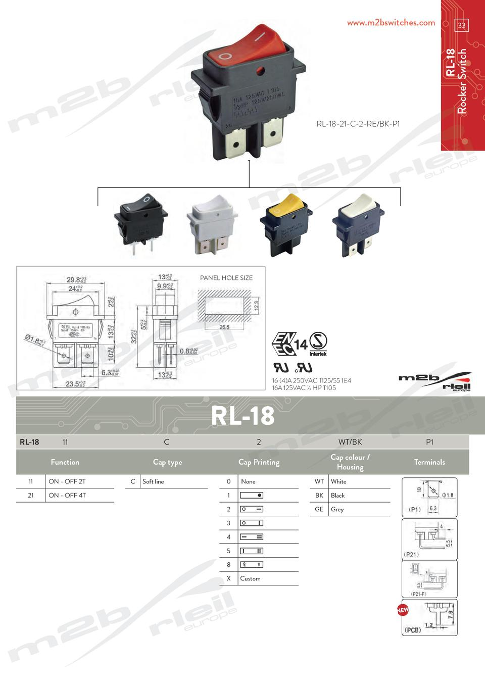www.m2bswitches.com  RL-18 Rocker Switch  33  RL-18-21-C-2-RE BK-P1  PANEL HOLE SIZE  16  4 A 250VAC T125 55 1E4 16A 125VA...