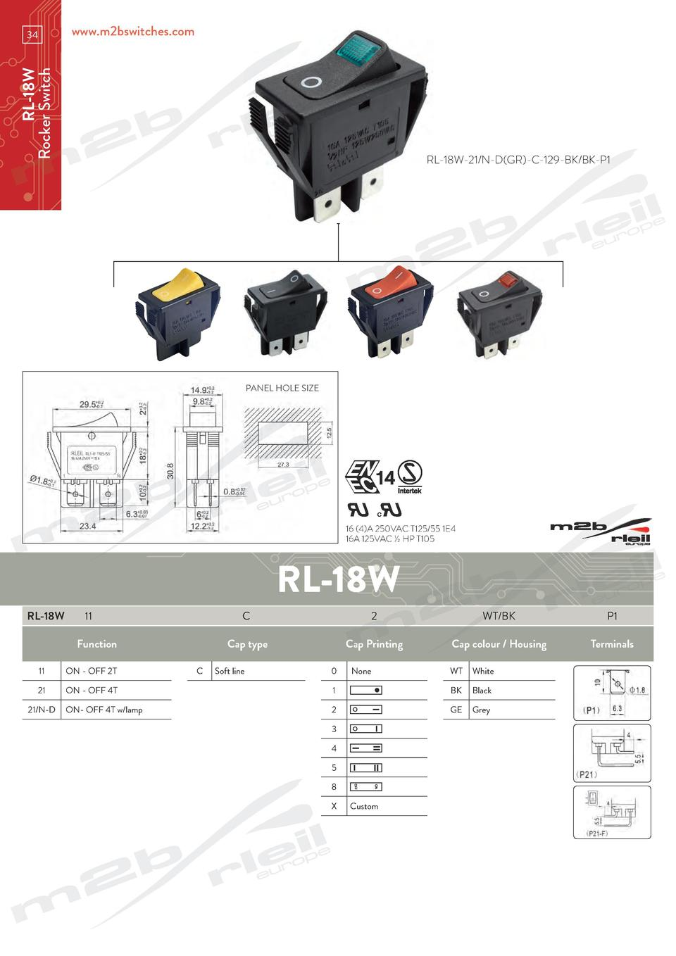 www.m2bswitches.com  RL-18W Rocker Switch  34  RL-18W-21 N-D GR -C-129-BK BK-P1  PANEL HOLE SIZE  We switch on you  16  4 ...