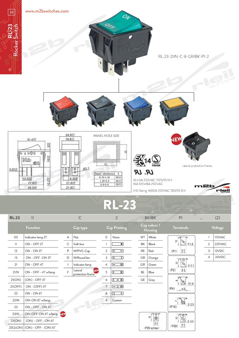 www.m2bswitches.com  RL-23 Rocker Switch  38  RL-23-21 N-C-8-GR BK-P1-2  PANEL HOLE SIZE  Lateral protection frame.  16  4...