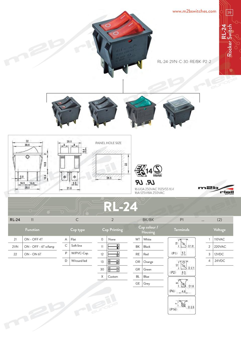 www.m2bswitches.com  RL-24 Rocker Switch  39  RL-24-21 N-C-30-RE BK-P2-2  PANEL HOLE SIZE  16  4 A 250VAC T125 55 1E4 16A ...