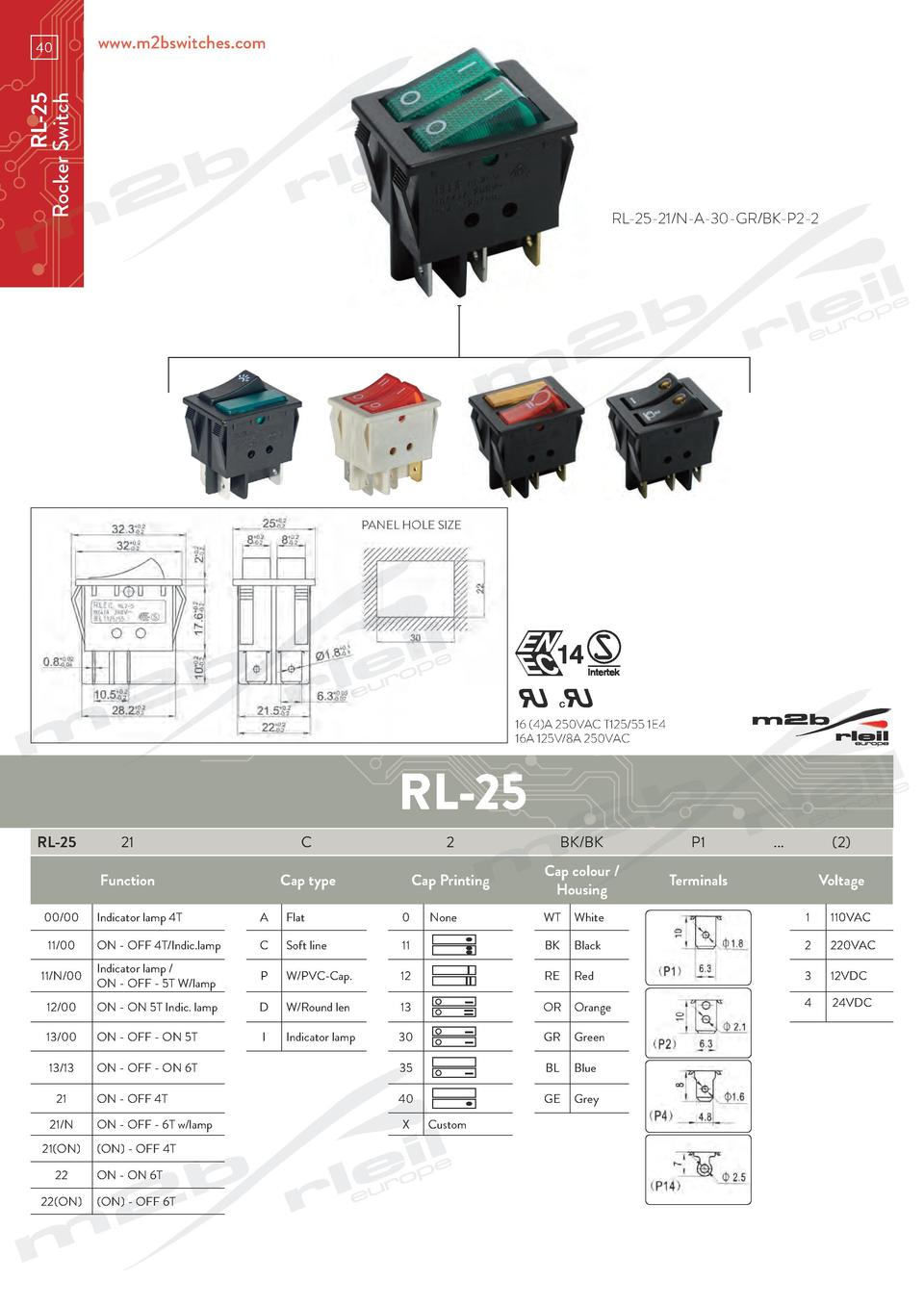 www.m2bswitches.com  RL-25 Rocker Switch  40  RL-25-21 N-A-30-GR BK-P2-2  PANEL HOLE SIZE  16  4 A 250VAC T125 55 1E4 16A ...