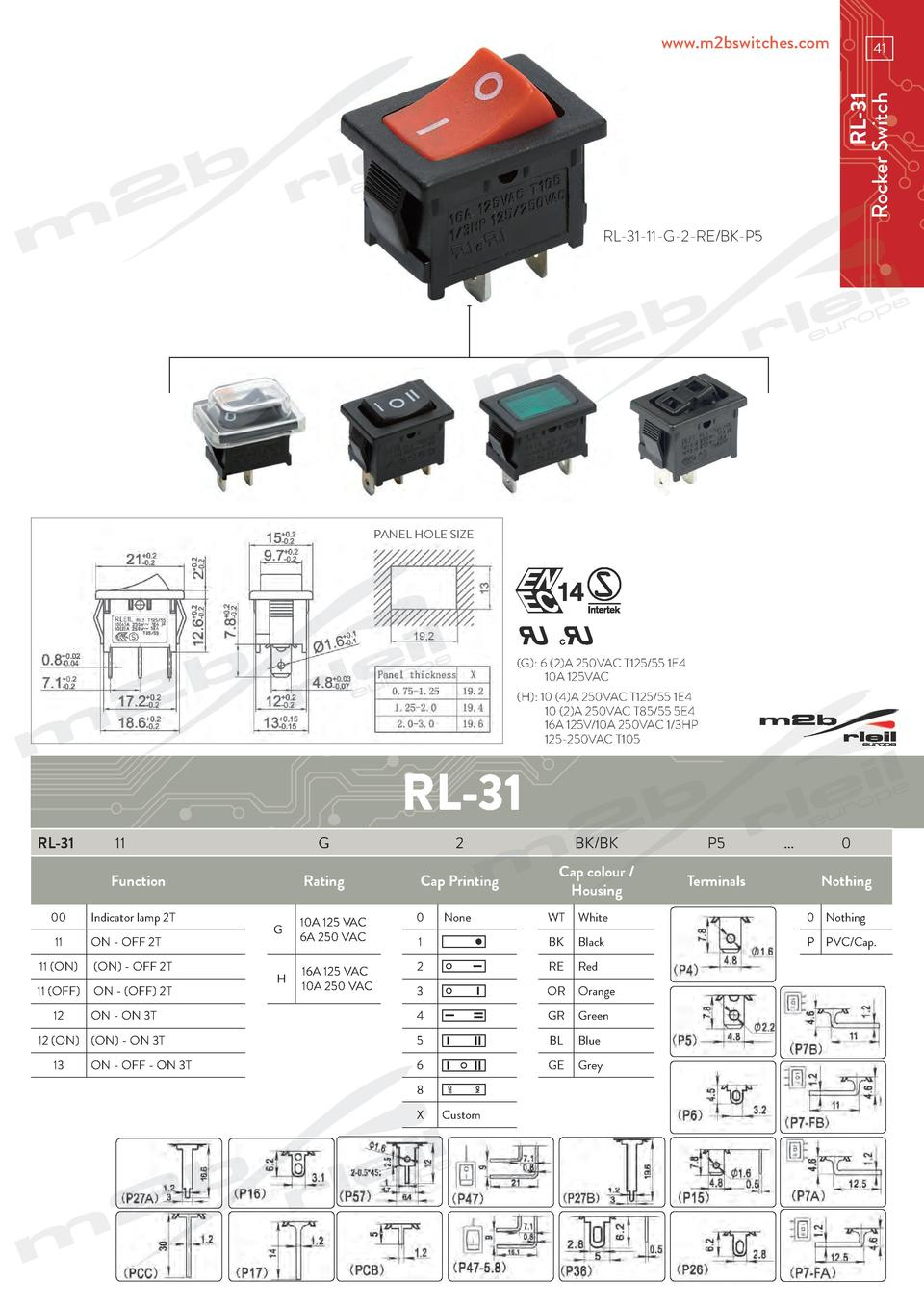 www.m2bswitches.com  RL-31 Rocker Switch  41  RL-31-11-G-2-RE BK-P5  PANEL HOLE SIZE   G   6  2 A 250VAC T125 55 1E4   10A...
