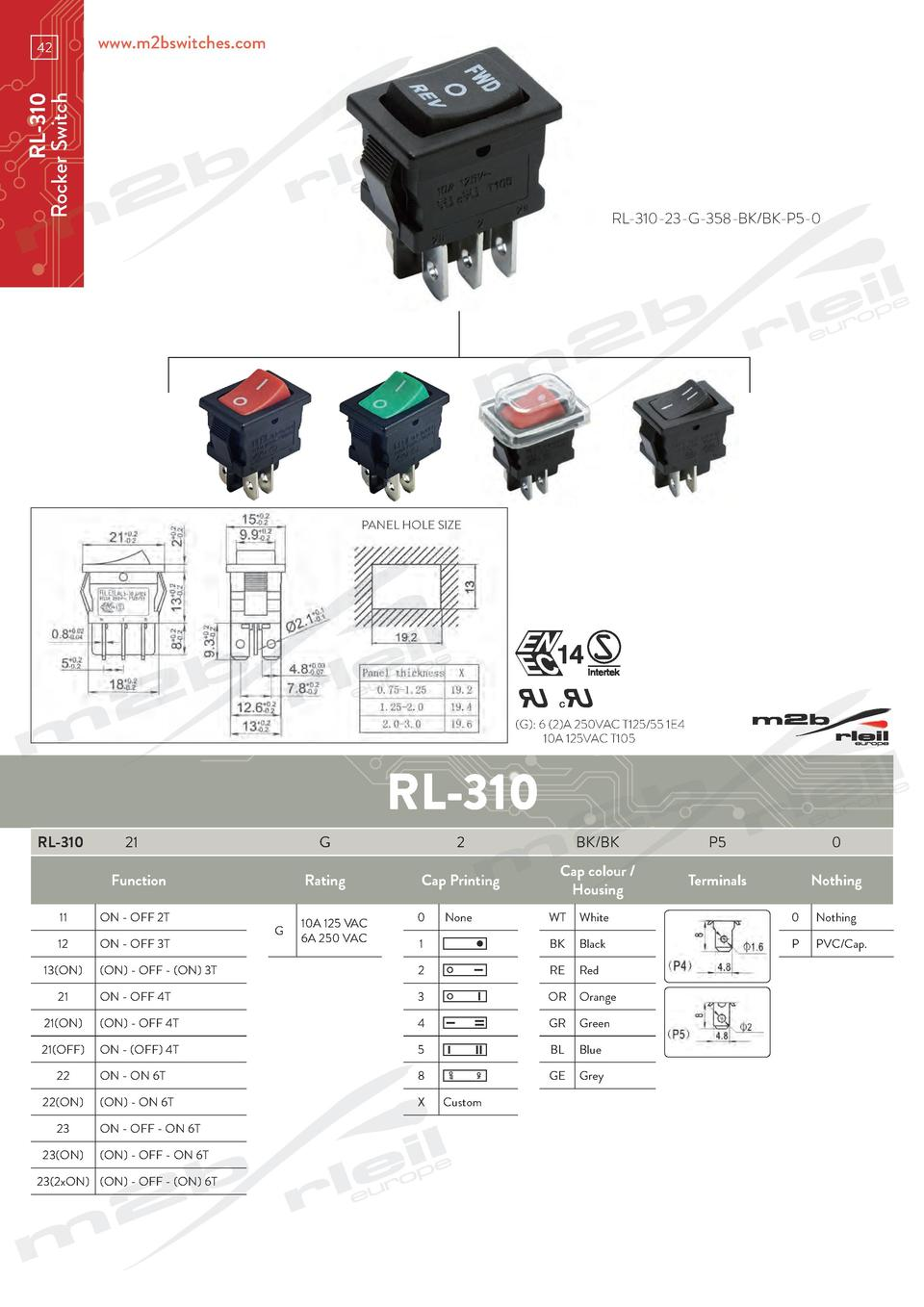 www.m2bswitches.com  RL-310 Rocker Switch  42  RL-310-23-G-358-BK BK-P5-0  PANEL HOLE SIZE   G   6  2 A 250VAC T125 55 1E4...