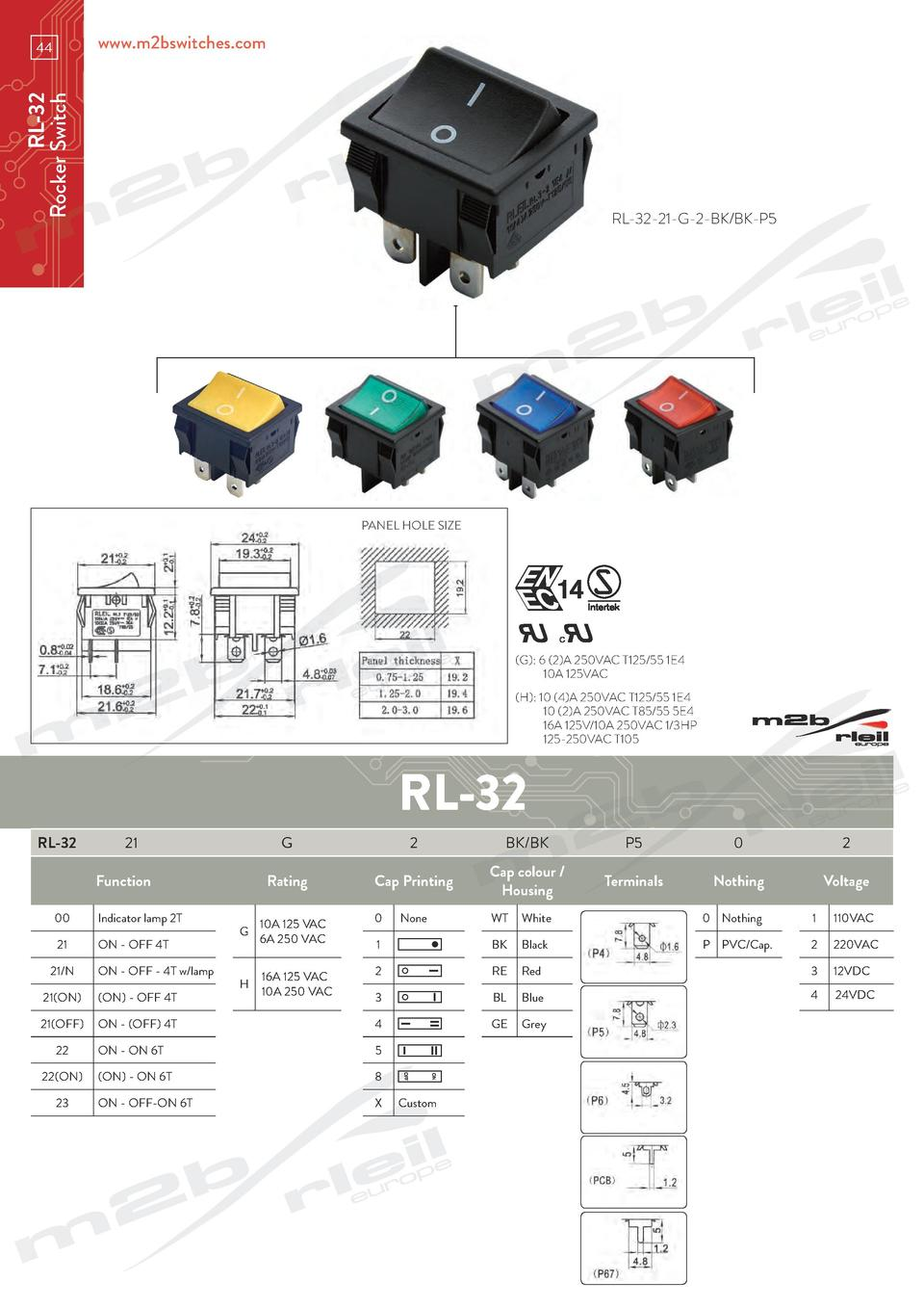 www.m2bswitches.com  RL-32 Rocker Switch  44  RL-32-21-G-2-BK BK-P5  PANEL HOLE SIZE   G   6  2 A 250VAC T125 55 1E4   10A...