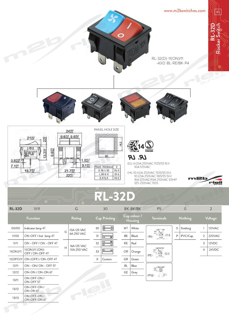 www.m2bswitches.com  RL-32D Rocker Switch  45  RL-32 D -11 ON  11 -43 2-BL-RE BK-P4  PANEL HOLE SIZE   G   6  2 A 250VAC T...