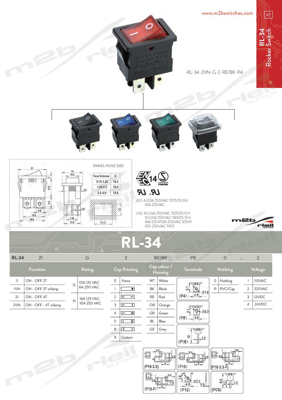 www.m2bswitches.com  RL-34 Rocker Switch  47  RL-34-21 N-G-2-RE BK-P4  PANEL HOLE SIZE   G   6  2 A 250VAC T125 55 1E4   1...