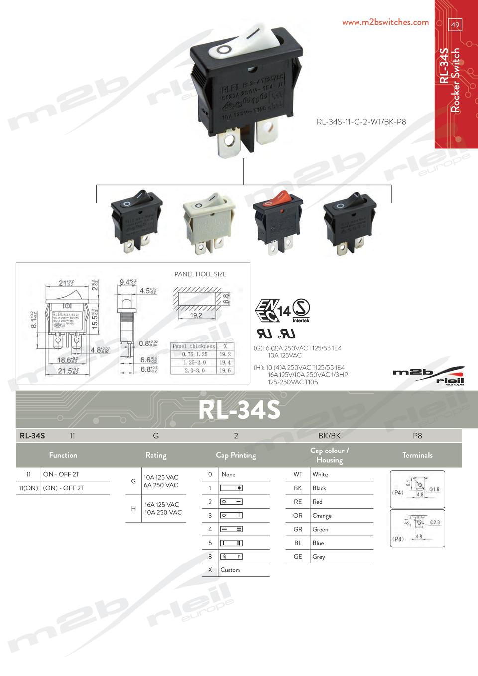 49  RL-34S Rocker Switch  www.m2bswitches.com  RL-34S-11-G-2-WT BK-P8  PANEL HOLE SIZE   G   6  2 A 250VAC T125 55 1E4   1...
