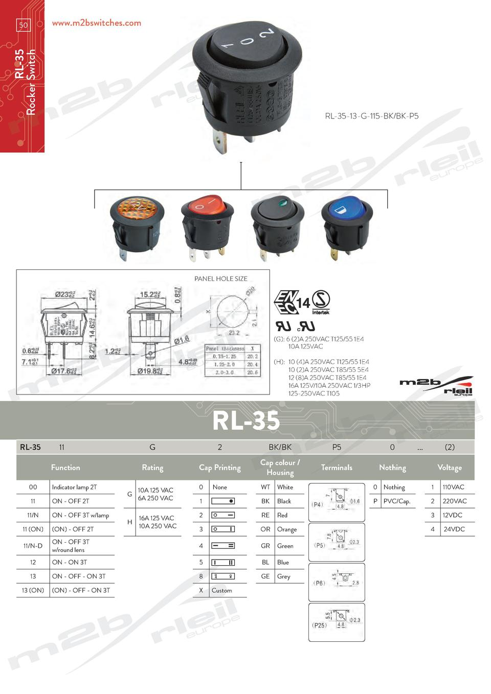 www.m2bswitches.com  RL-35 Rocker Switch  50  RL-35-13-G-115-BK BK-P5  PANEL HOLE SIZE   G   6  2 A 250VAC T125 55 1E4   1...