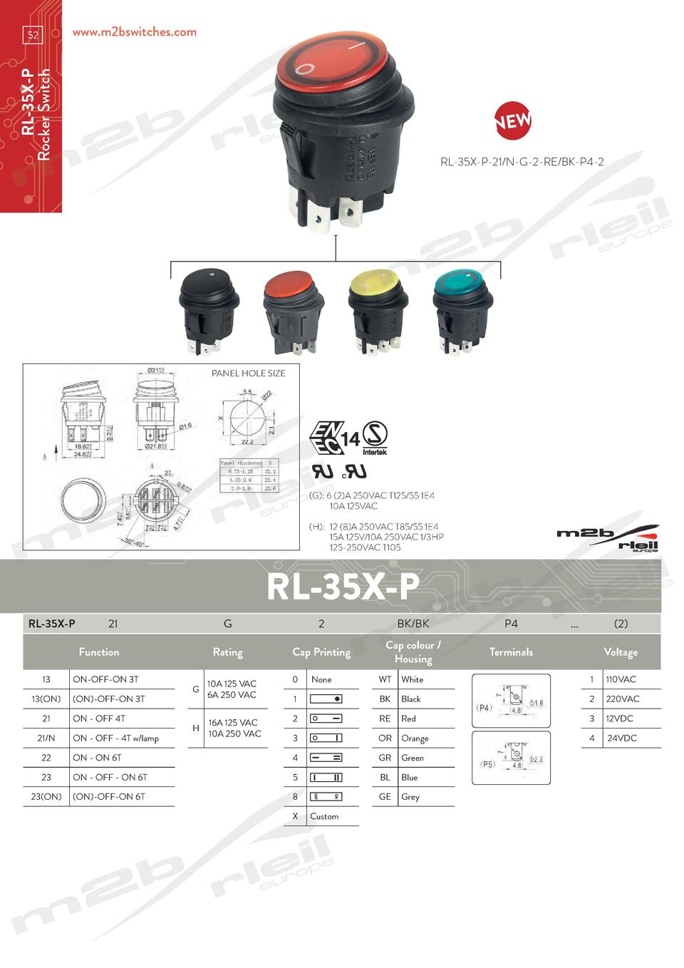www.m2bswitches.com  RL-35X-P Rocker Switch  52  RL-35X-P-21 N-G-2-RE BK-P4-2  PANEL HOLE SIZE   G   6  2 A 250VAC T125 55...