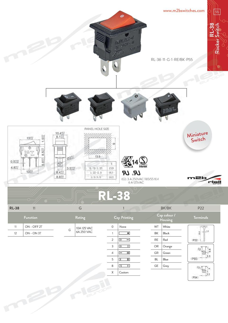 www.m2bswitches.com  RL-38 Rocker Switch  55  RL-38-11-G-1-RE BK-P55  PANEL HOLE SIZE  e Miniatur Switch   G   3 A 250VAC ...