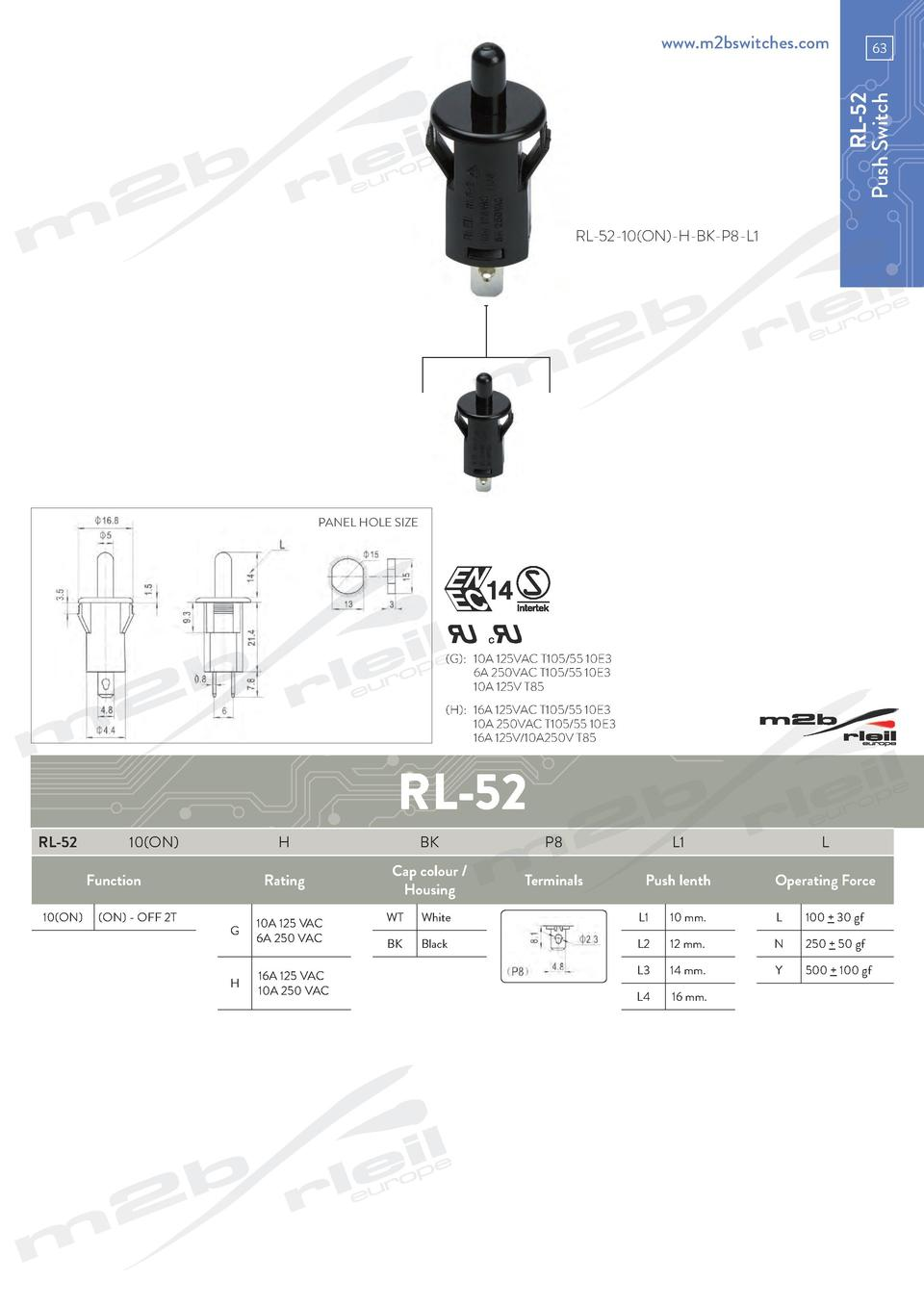 www.m2bswitches.com  RL-52 Push Switch  63  RL-52-10 ON -H-BK-P8-L1  PANEL HOLE SIZE   G     10A 125VAC T105 55 10E3   6A ...