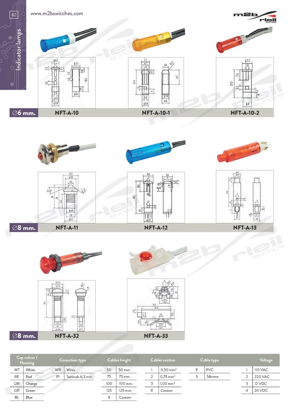 www.m2bswitches.com  Indicator lamps  82    6 mm.  NFT-A-10  NFT-A-10-1  NFT-A-10-2    8 mm.  NFT-A-11  NFT-A-12  NFT-A-13...