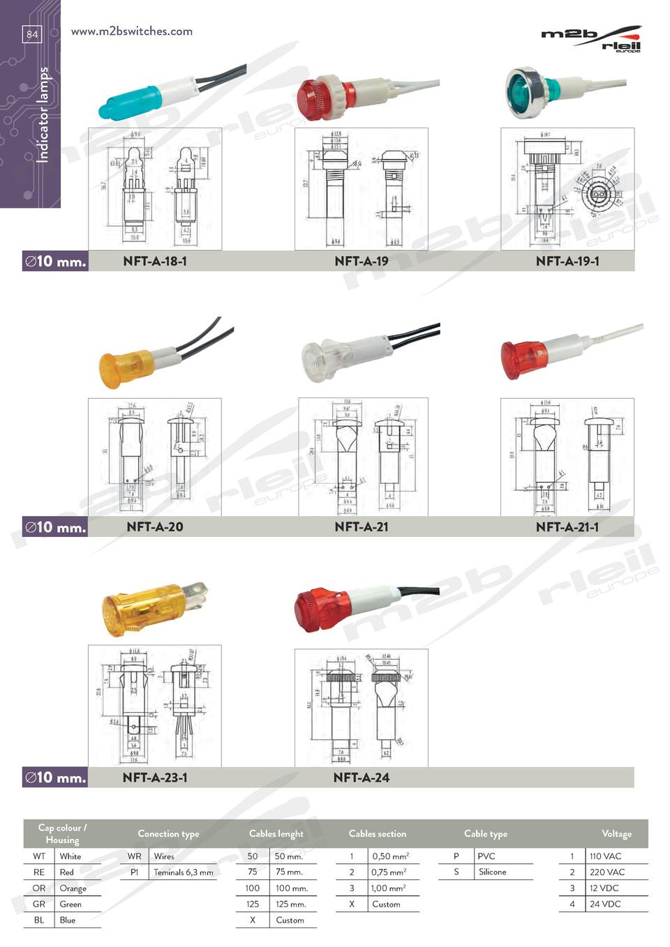 www.m2bswitches.com  Indicator lamps  84    10 mm.  NFT-A-18-1  NFT-A-19  NFT-A-19-1    10 mm.  NFT-A-20  NFT-A-21  NFT-A-...