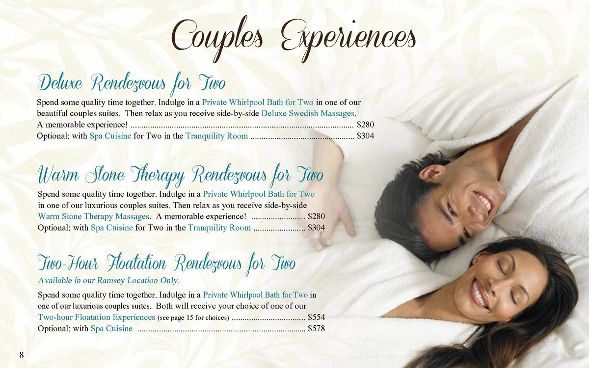 Couples Experiences Deluxe Rendezvous for Two  Spend some quality time together. Indulge in a Private Whirlpool Bath for T...