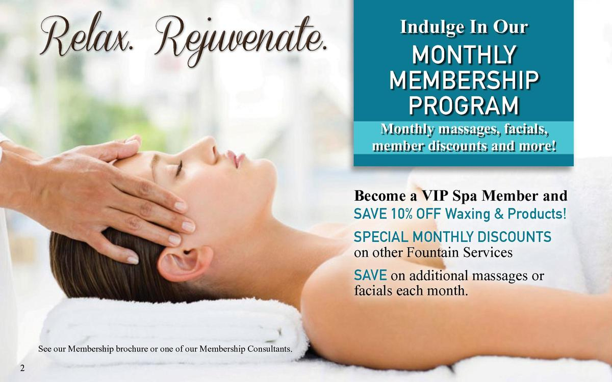 Relax. Rejuvenate.  Indulge In Our monthly membership program  Monthly massages, facials, member discounts and more   Beco...