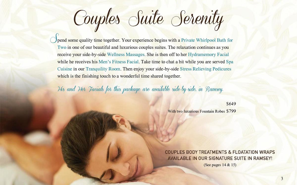 Couples Suite Serenity  Spend some quality time together. Your experience begins with a Private Whirlpool Bath for  Two in...