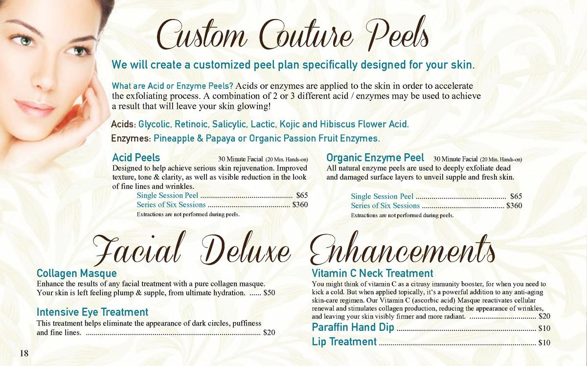 Custom Couture Peels  We will create a customized peel plan specifically designed for your skin. What are Acid or Enzyme P...