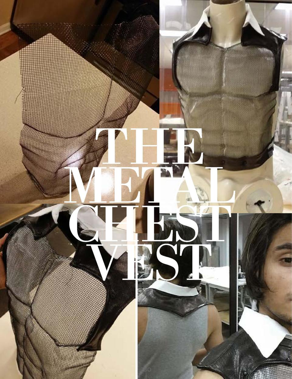 THE METAL CHEST VEST BLACK LEATHER METAL MESH WHITE COLLAR       230