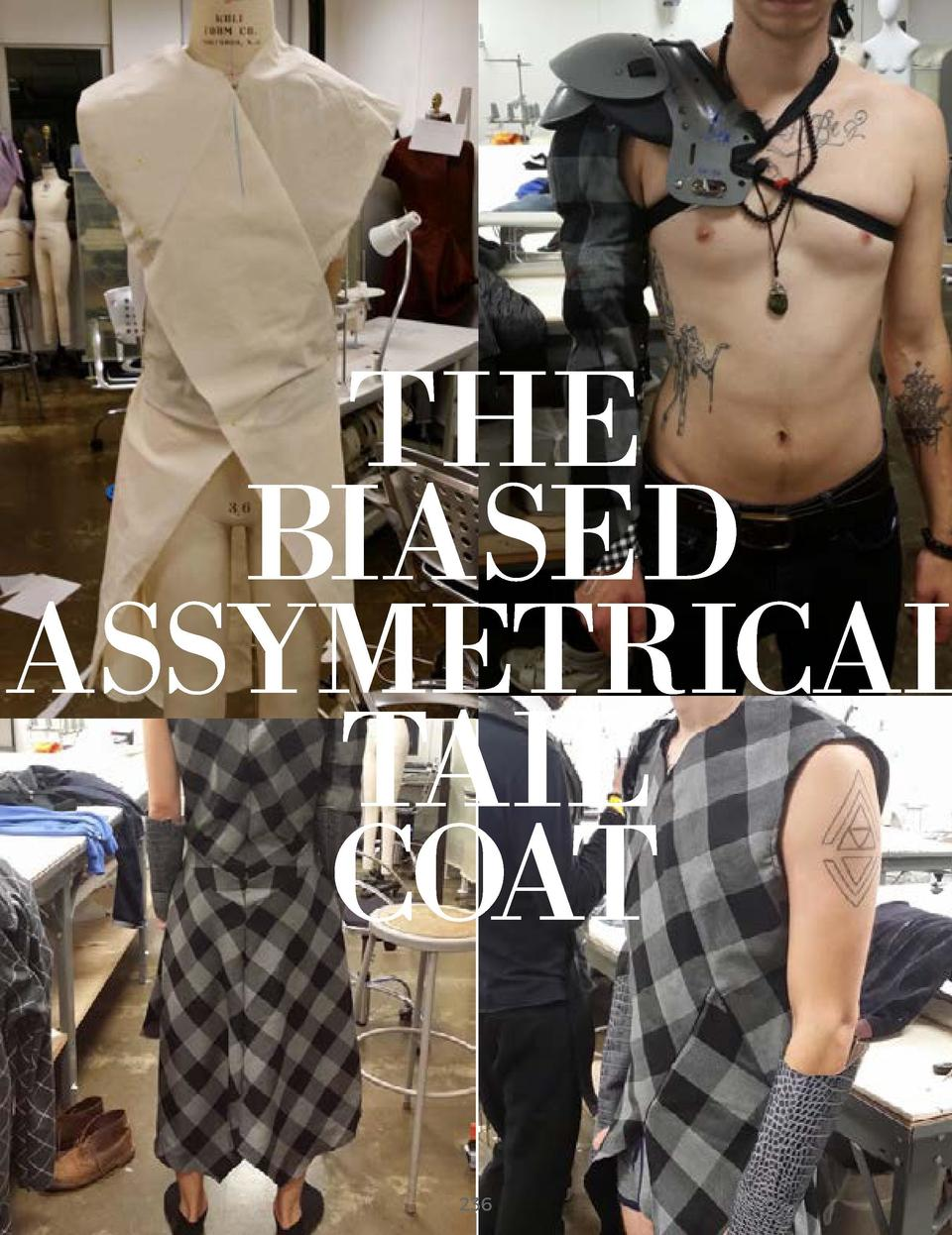 THE BIASED  ASSYMETRICAL  TAIL COAT  GREY PLAID WOOLEN FABRIC BLACK SATIN LINING GREY CROCODILE LEATHER BLACK MESH       2...