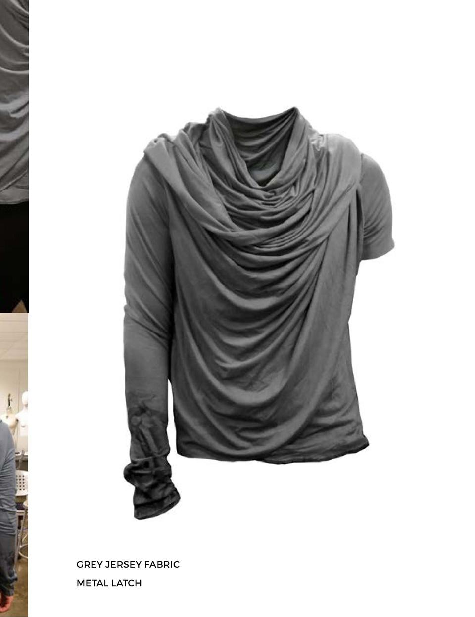 THE DRAPED LOCK HOODIE GREY JERSEY FABRIC METAL LATCH       242