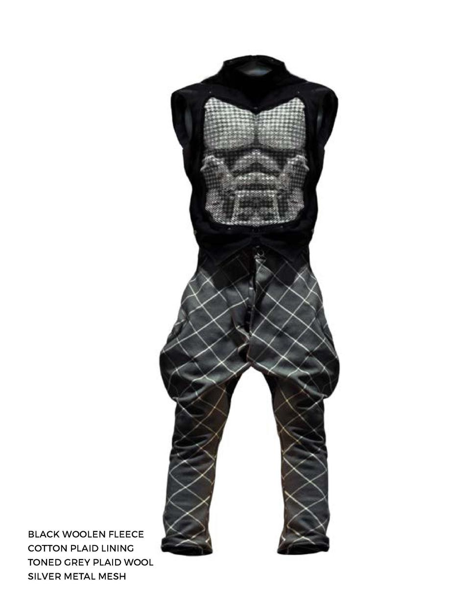 THE METAL BOLTED JUMPSUIT BLACK WOOLEN FLEECE COTTON PLAID LINING TONED GREY PLAID WOOL SILVER METAL MESH       258