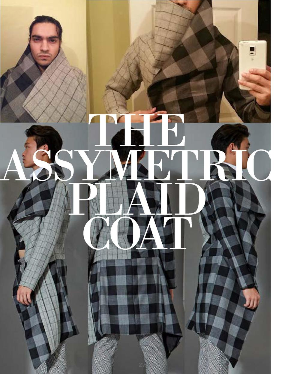 THE ASSYMETRIC PLAID COAT BLACK AND GREY PLAID WOOLEN FABRIC WITH BLACK SATIN LINING       278
