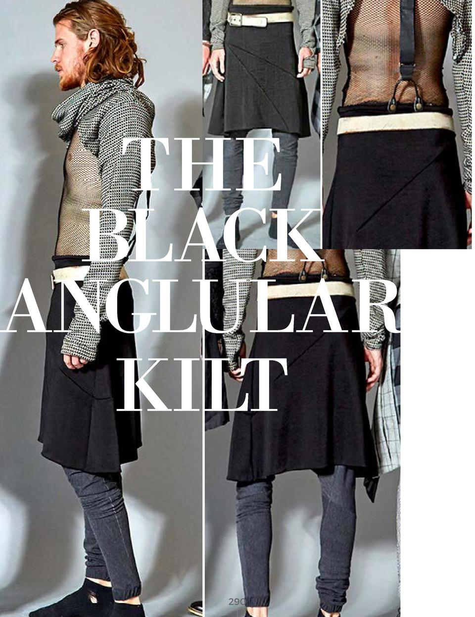 THE BLACK ANGLULAR KILT BLACK POLY COTTON FABRIC WITH WHITE LEATHER BELT       290