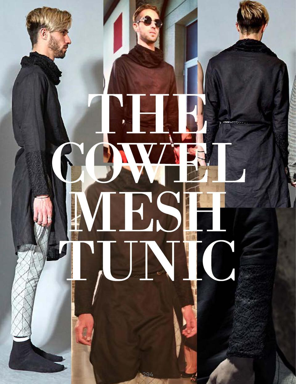 THE COWEL MESH TUNIC BLACK LINEN FABRIC BLACK POLYESTER MESH       294