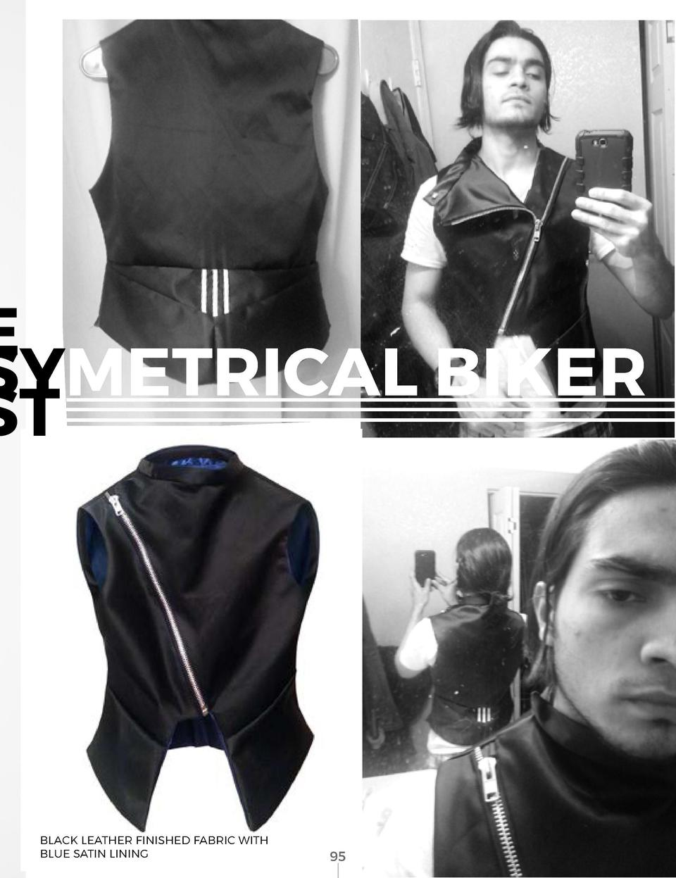 THE ASSYMETRICAL BIKER VEST  95            94  BLACK LEATHER FINISHED FABRIC WITH BLUE SATIN LINING