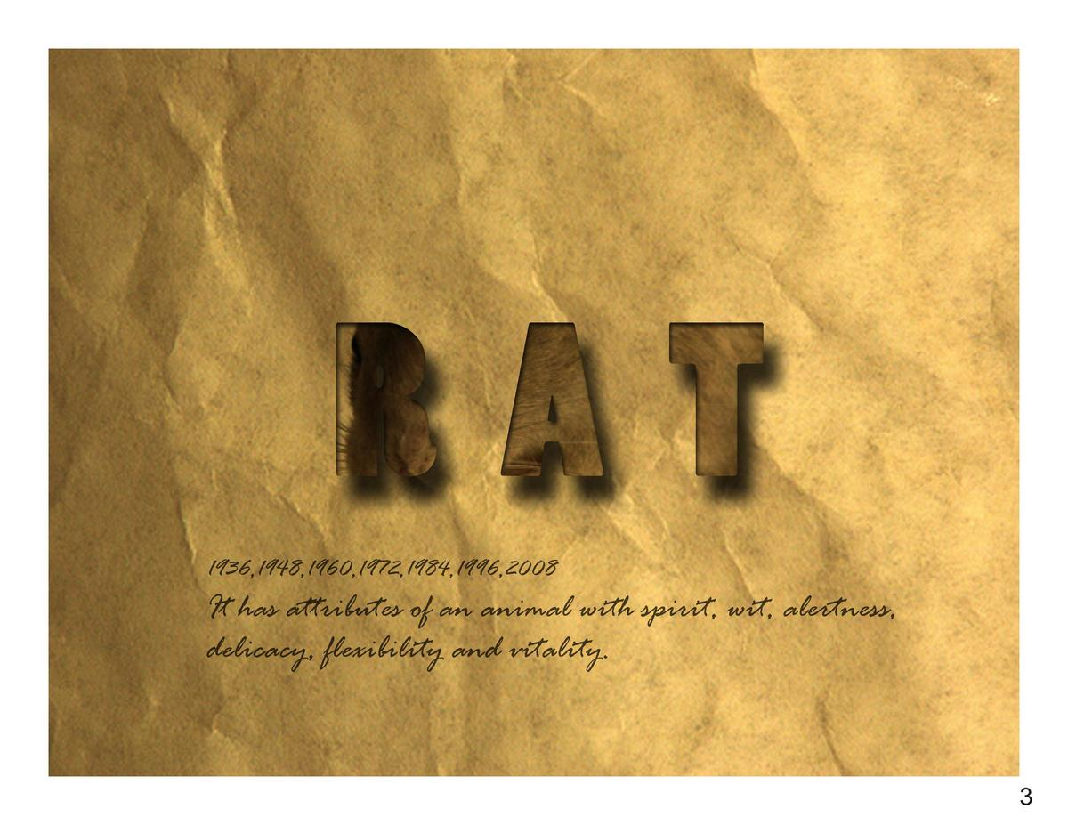RAT 1936,1948,1960,1972,1984,1996,2008  It has attributes of an animal with spirit, wit, alertness, delicacy, flexibility ...