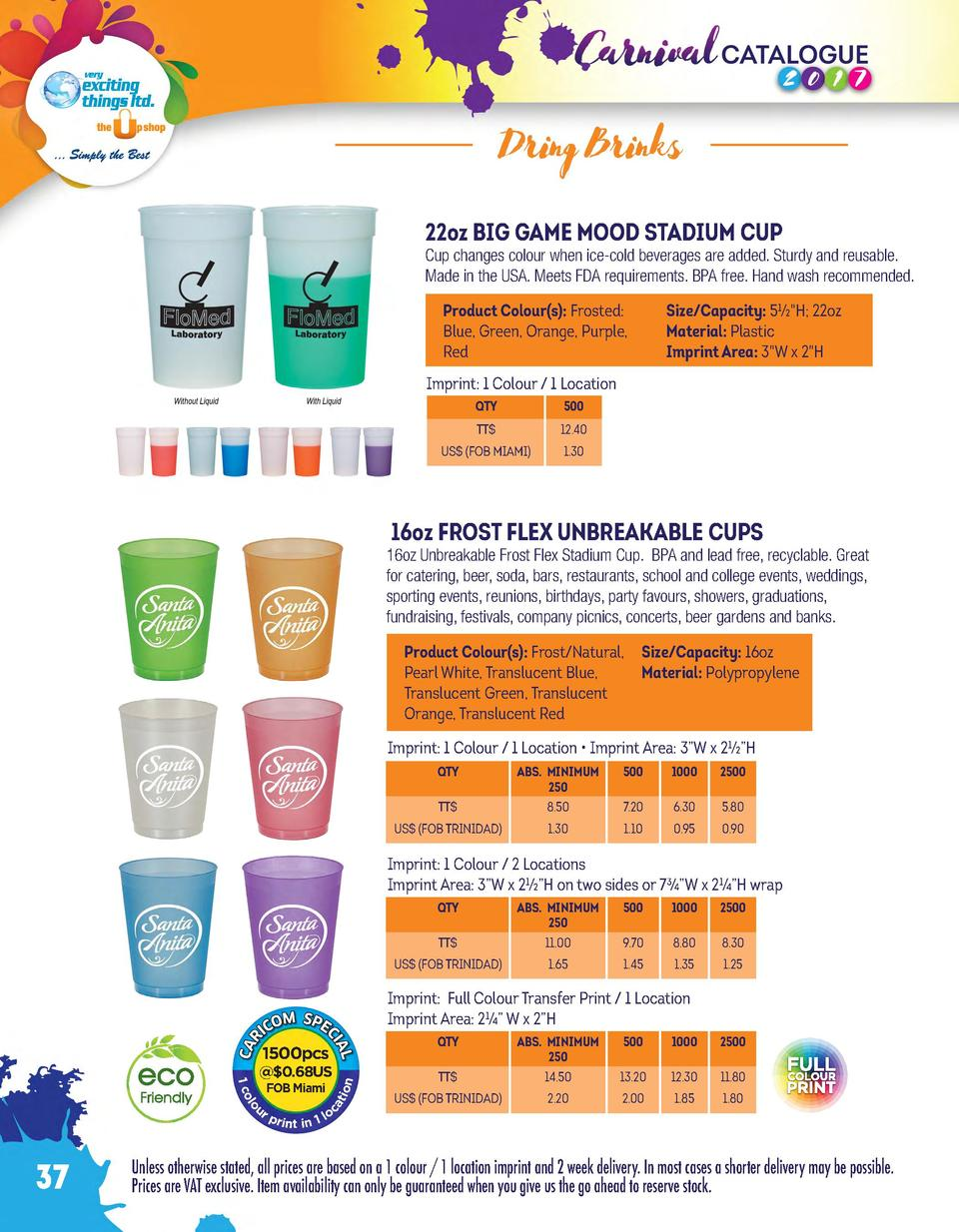 Dring Brinks 22oz BIG GAME MOOD STADIUM CUP  Cup changes colour when ice-cold beverages are added. Sturdy and reusable. Ma...