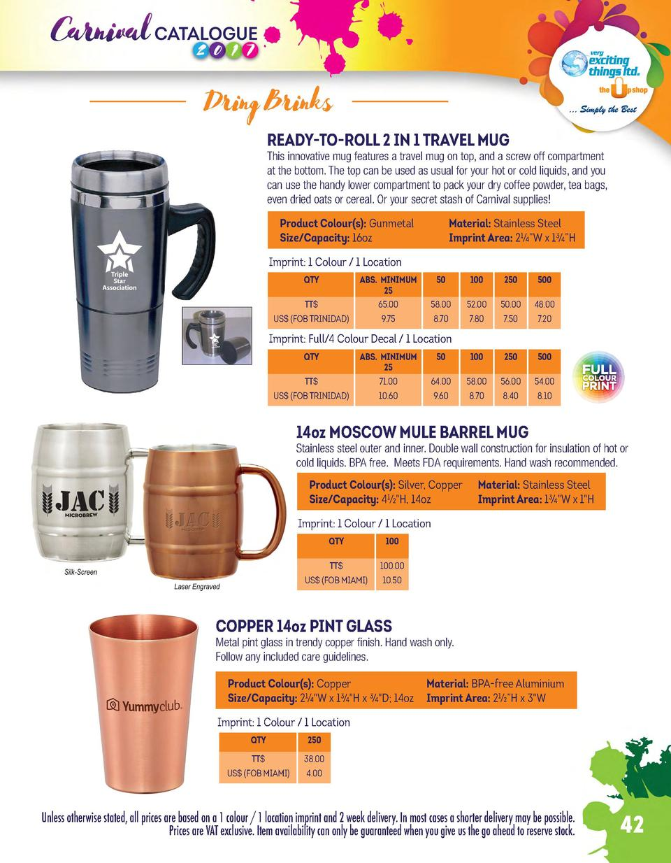 Dring Brinks READY-TO-ROLL 2 IN 1 TRAVEL MUG  This innovative mug features a travel mug on top, and a screw off compartmen...