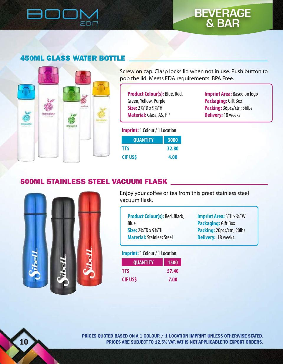 BEVERAGE   BAR 450ML GLASS WATER BOTTLE Screw on cap. Clasp locks lid when not in use. Push button to pop the lid. Meets F...