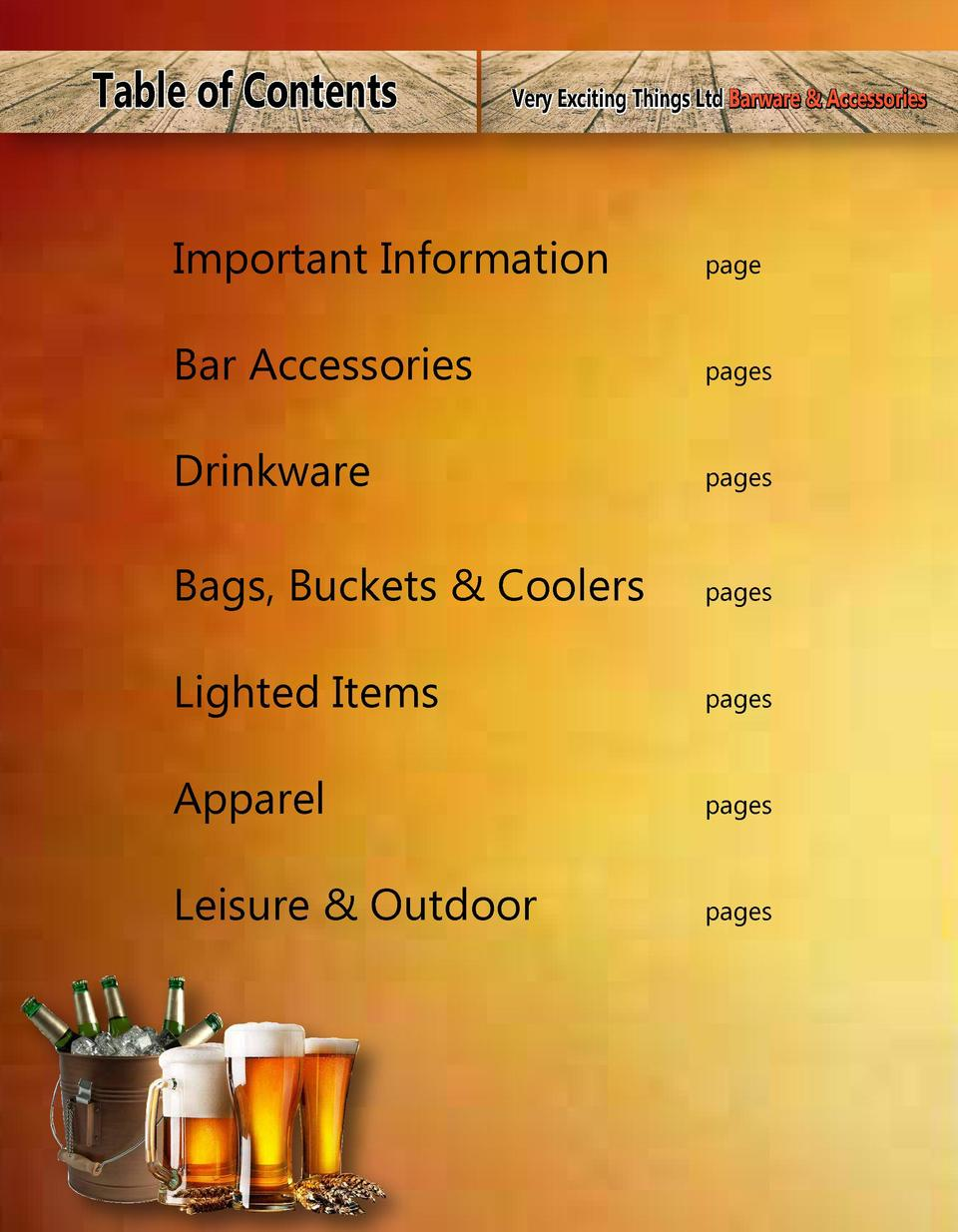 Table of Contents  Very Exciting Things Ltd Barware   Accessories  Important Information  page  Bar Accessories  pages  Dr...