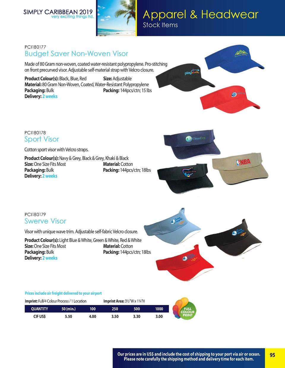 5d4e896894ad13 Apparel Headwear Stock Items PCI180177 Budget Saver Non-Woven Visor Made of  80 Gram non