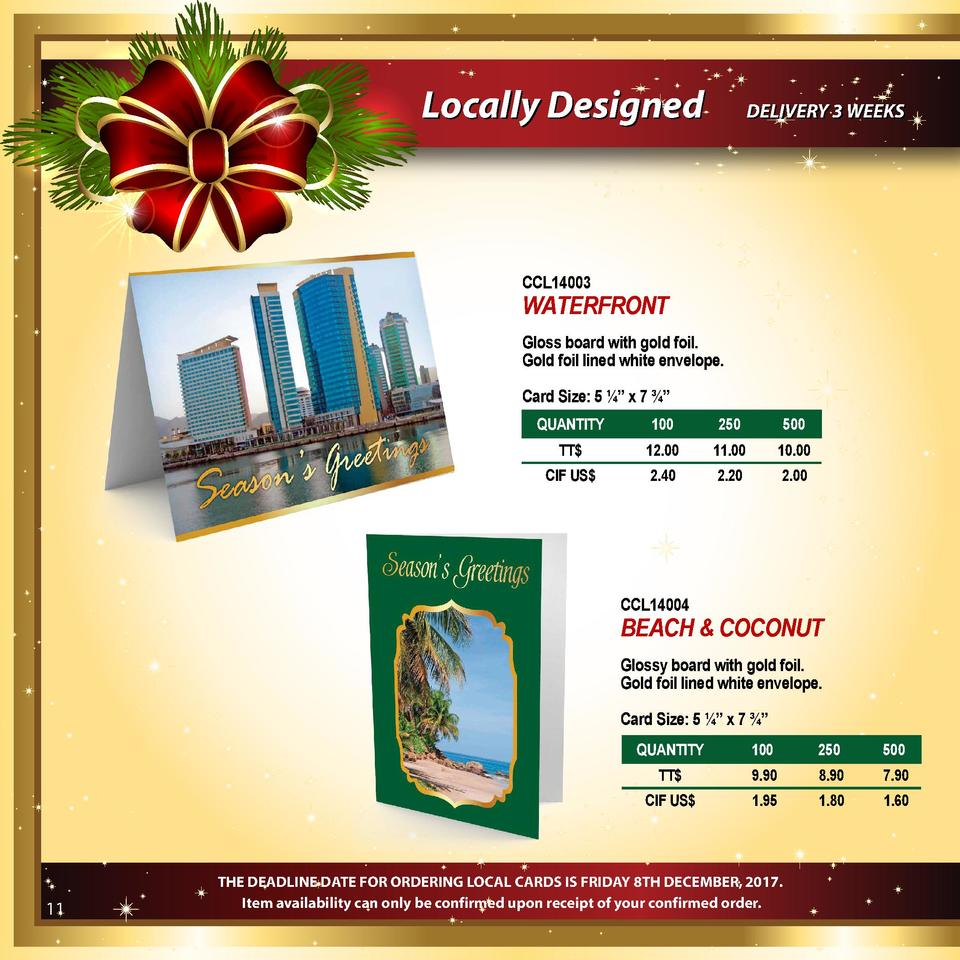 Locally Designed  DELIVERY 3 WEEKS  CCL14003  WATERFRONT Gloss board with gold foil. Gold foil lined white envelope. Card ...