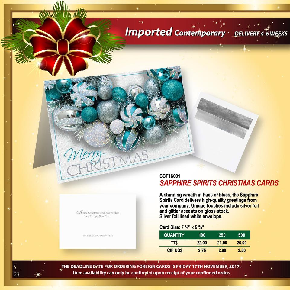 Imported Contemporary  DELIVERY 4-6 WEEKS  CCF16001  SAPPHIRE SPIRITS CHRISTMAS CARDS A stunning wreath in hues of blues, ...