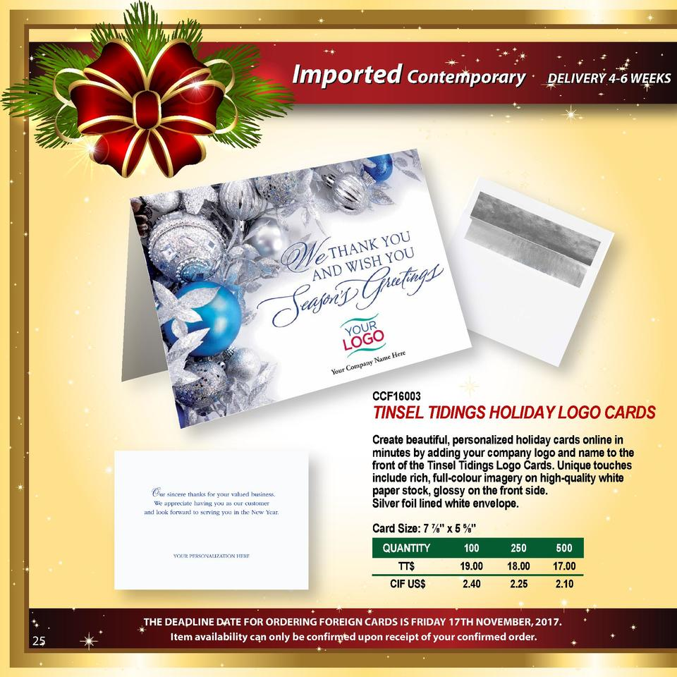 Imported Contemporary  DELIVERY 4-6 WEEKS  CCF16003  TINSEL TIDINGS HOLIDAY LOGO CARDS Create beautiful, personalized holi...