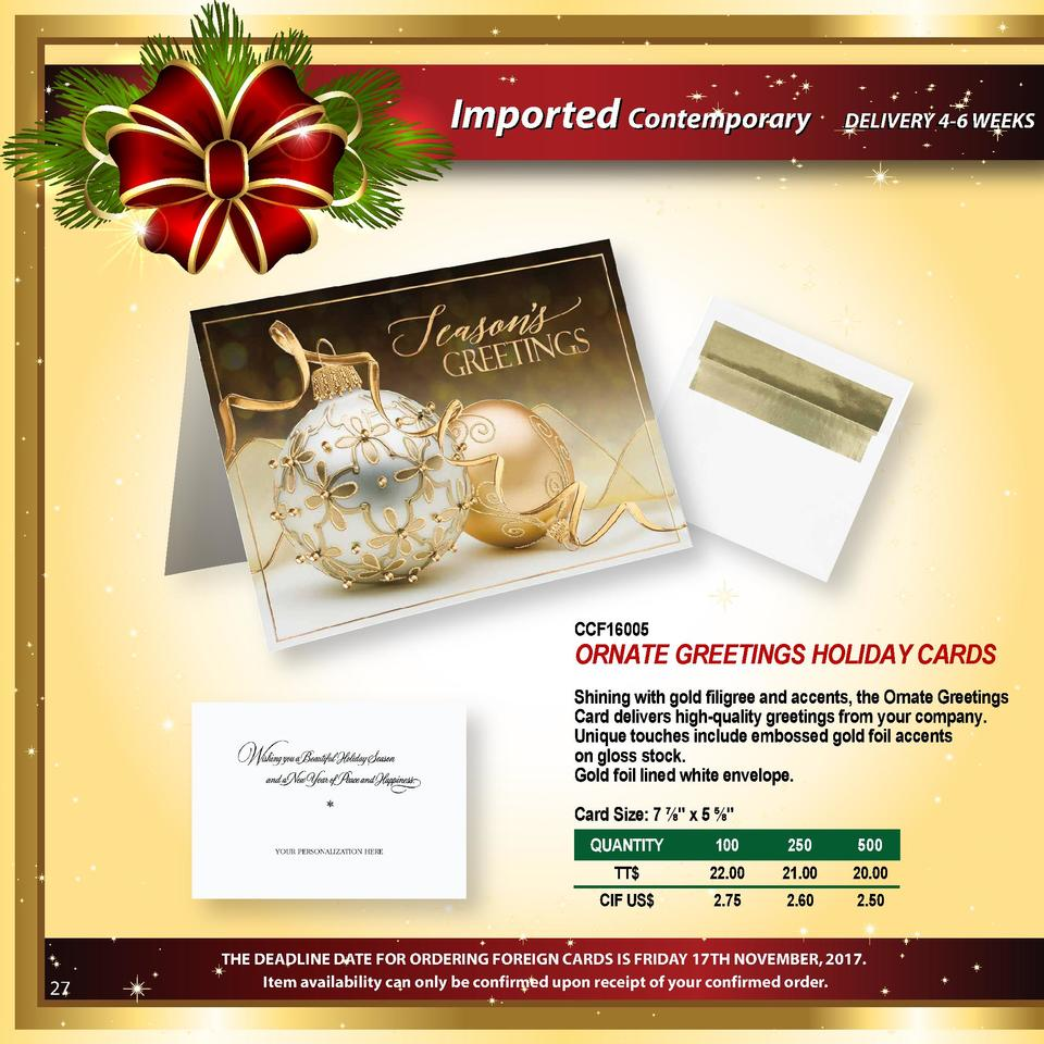 Imported Contemporary  DELIVERY 4-6 WEEKS  CCF16005  ORNATE GREETINGS HOLIDAY CARDS Shining with gold filigree and accents...