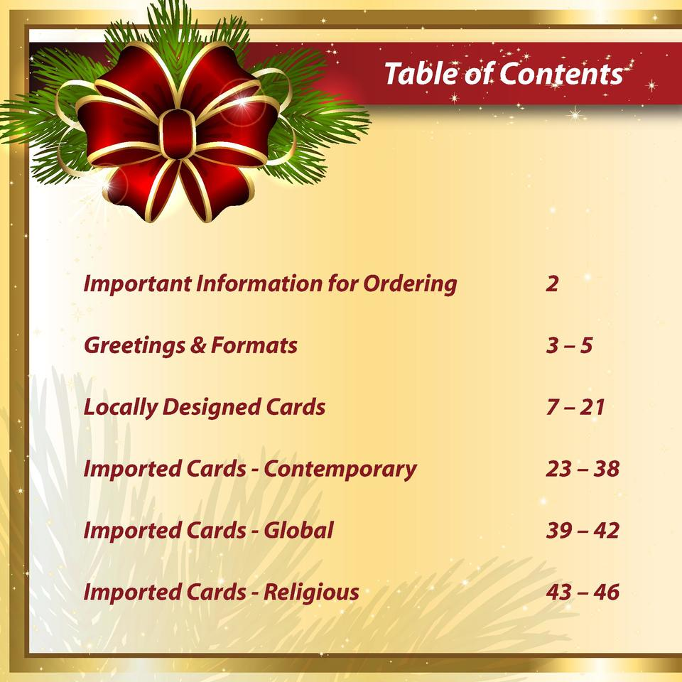 Table of Contents  Important Information for Ordering  2  Greetings   Formats  3   5  Locally Designed Cards  7     21  Im...
