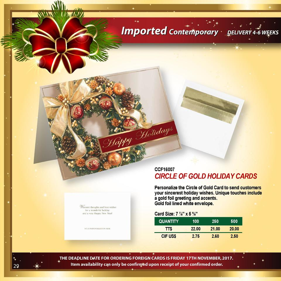 Imported Contemporary  DELIVERY 4-6 WEEKS  CCF16007  CIRCLE OF GOLD HOLIDAY CARDS Personalize the Circle of Gold Card to s...