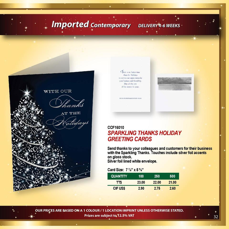 Imported Contemporary  DELIVERY 4-6 WEEKS  CCF16010  SPARKLING THANKS HOLIDAY GREETING CARDS Send thanks to your colleague...
